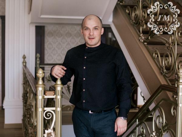 Рубашка Княжеская Снежная ночь (черная в мелкий белый горох) - Георгий Маркин - Студия дизайнерской одежды