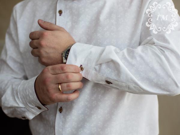 Рубашка Княжеская Ледяной цвет (белая с молочным принтом) - Георгий Маркин - Студия дизайнерской одежды