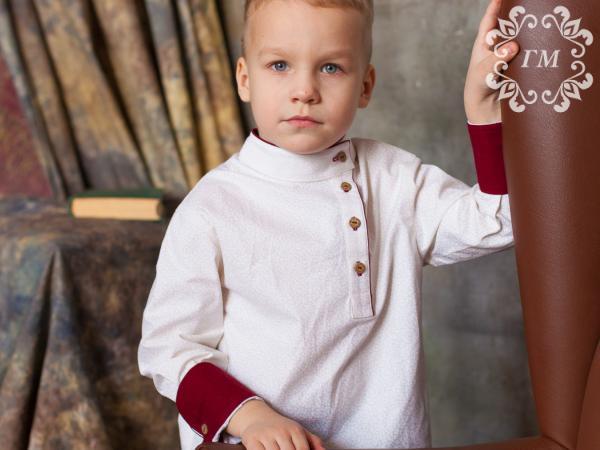 Косоворотка Ледяной цвет (белая с молочным принтом) - Георгий Маркин - Студия дизайнерской одежды