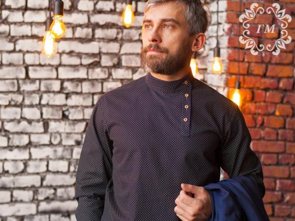 Косоворотка Снежная ночь (черная в белый мелкий горох) - Георгий Маркин - Студия дизайнерской одежды