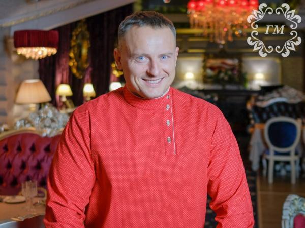 Косоворотка Калина красная (красная в белый мелкий горох) - Георгий Маркин - Студия дизайнерской одежды
