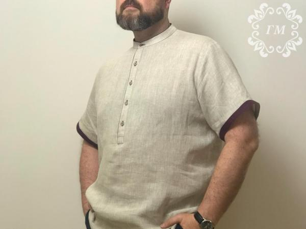 Рубашка льняная №3 с коротким рукавом - Георгий Маркин - Студия дизайнерской одежды