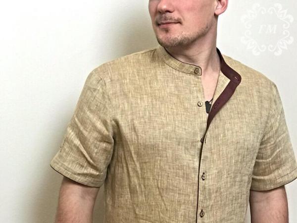 Рубашка льняная №1 с коротким рукавом - Георгий Маркин - Студия дизайнерской одежды