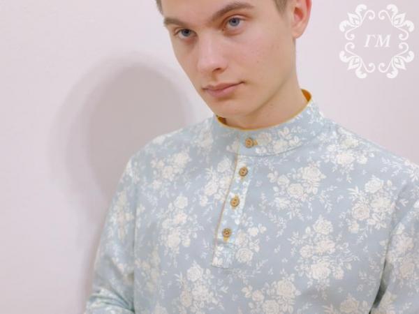 Рубашка Боярская Изумруд (бирюзовая с цветами) - Георгий Маркин - Студия дизайнерской одежды