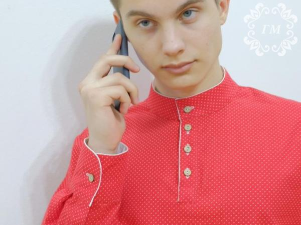 Рубашка Боярская Калина красная (красная в белый мелкий горох) - Георгий Маркин - Студия дизайнерской одежды