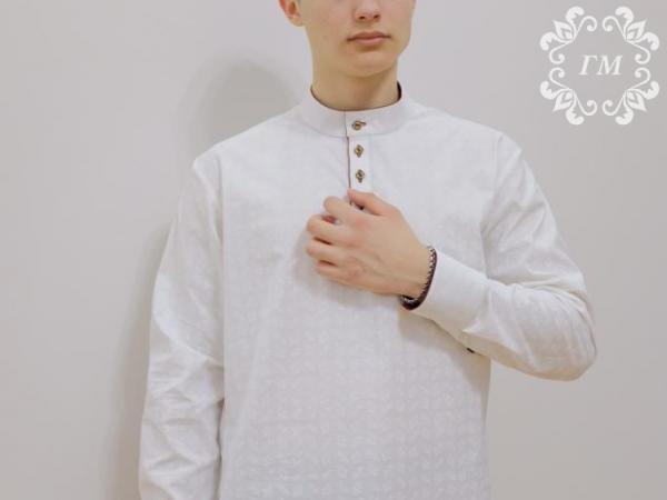 Рубашка Боярская Ледяной цвет (белая с молочным принтом) - Георгий Маркин - Студия дизайнерской одежды