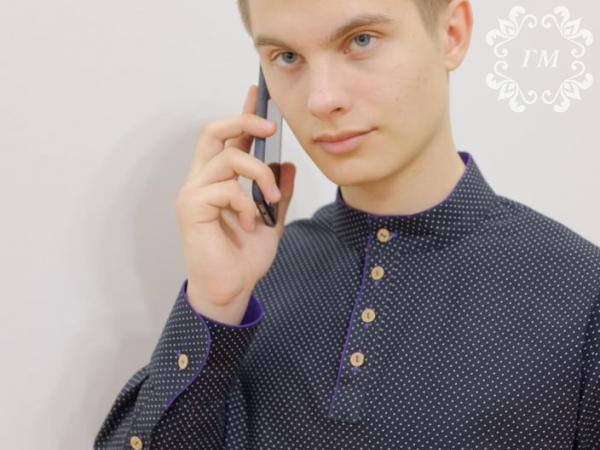 Рубашка Боярская Снежная ночь (черная в мелкий белый горох) - Георгий Маркин - Студия дизайнерской одежды